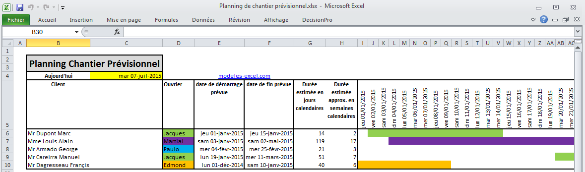 Super Planning de chantier prévisionnel BG-54