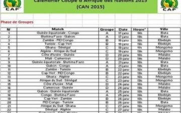 Calendrier compétition Football CAN 2015