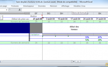 Application excel de suivi de plan d'action